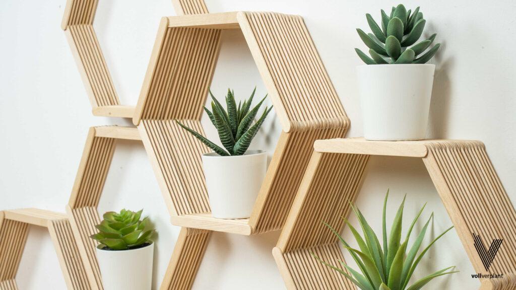 DIY Hexagon Regal aus Eisstielen - Fertig - vollverplant.at